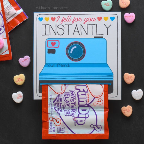Printable instant film camera candy valentine