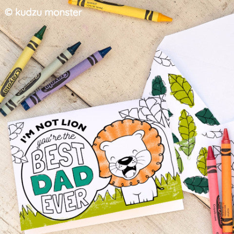 Lion Father's Day Coloring Card