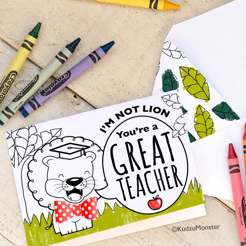 image relating to Printable Teacher Appreciation Cards named Coloring Match Instructor Appreciation Card: Lion