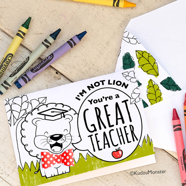 Coloring Activity Teacher Appreciation Card: Lion