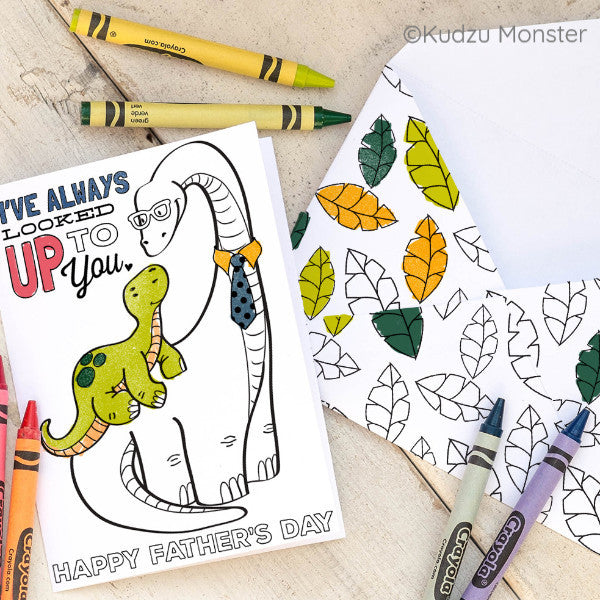 Long Neck Dinosaur Father's Day Coloring Greeting Card
