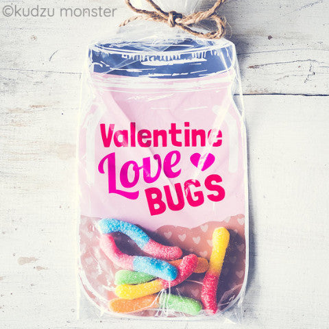 Pink Love Bug Mason Jar Valentine - Kudzu Monster
