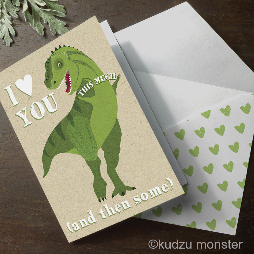 Dinosaur Valentine Card - Kudzu Monster