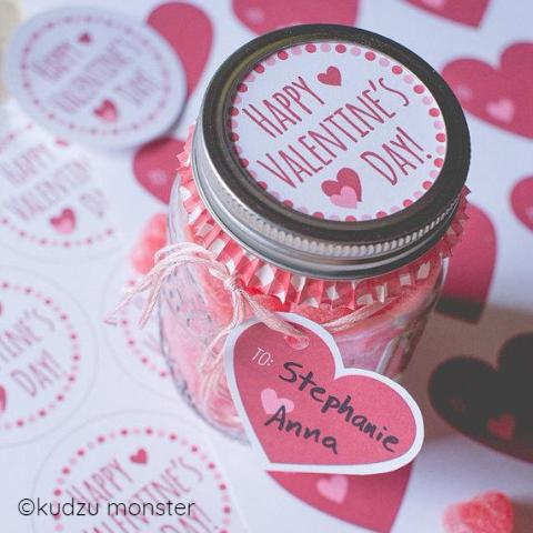 Mason Jar Valentine Label and Tag