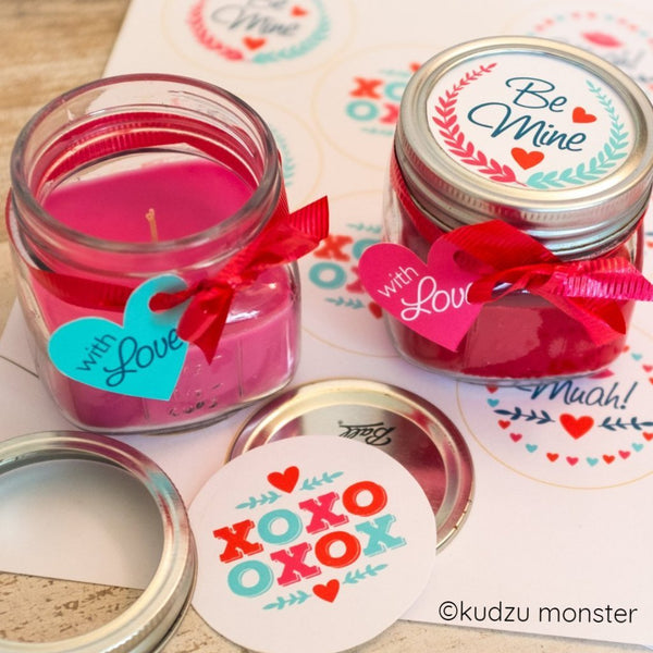 Mason Jar Valentine Label and Tag Assorted