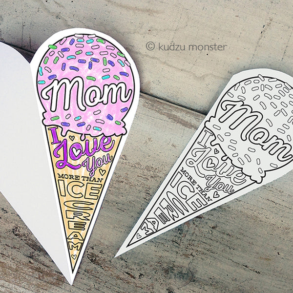 Ice Cream Coloring Mother's Day Card