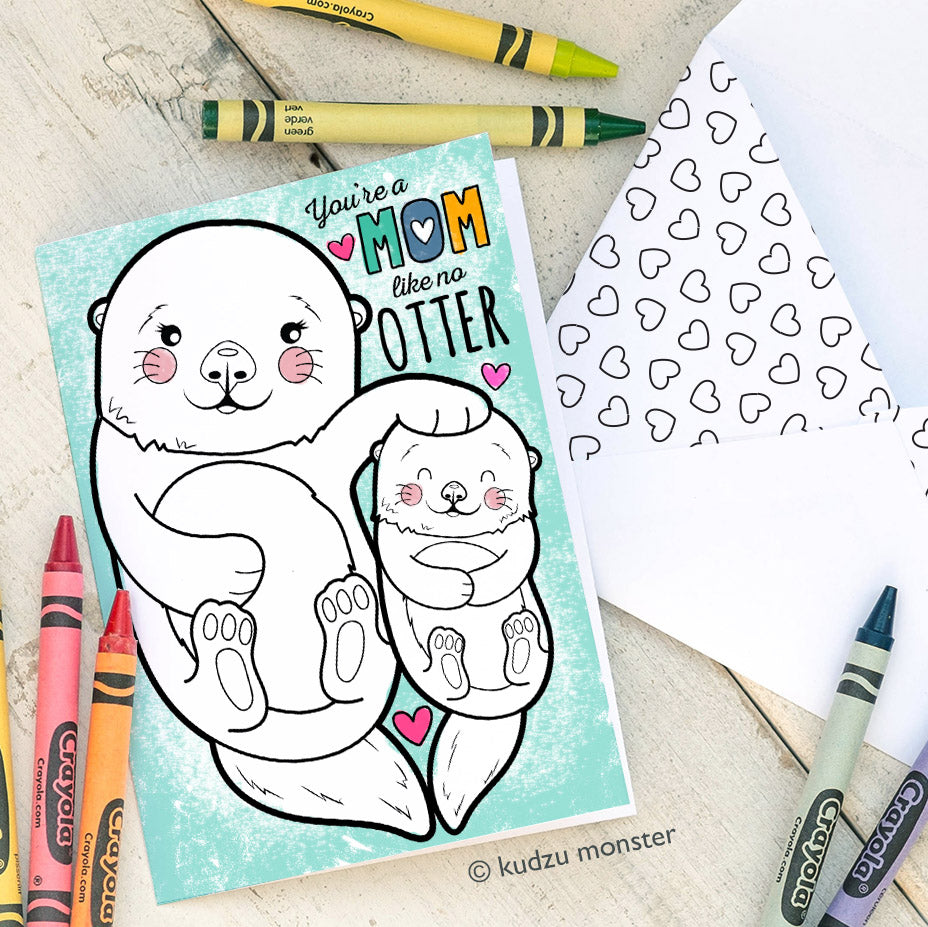 Coloring Activity Mother's Day Card: Otter