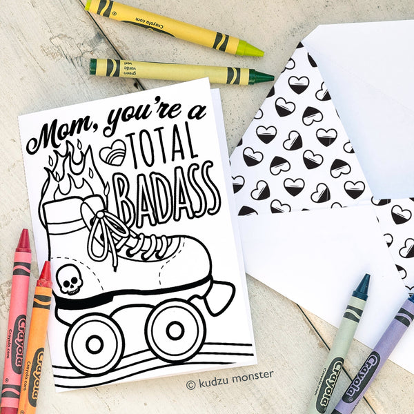 Coloring Activity Mother's Day Card: Roller Skate