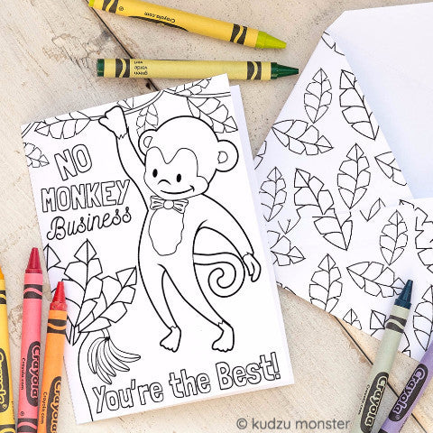 Monkey Coloring Activity Greeting Card