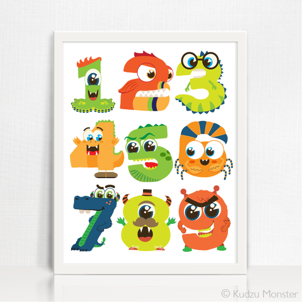 Monster Numbers Printable Art - Kudzu Monster