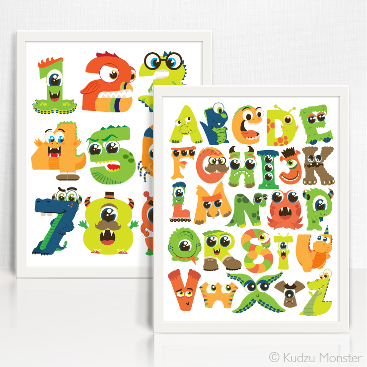 Monster ABC 123 Printable Art Set - Kudzu Monster  - 3