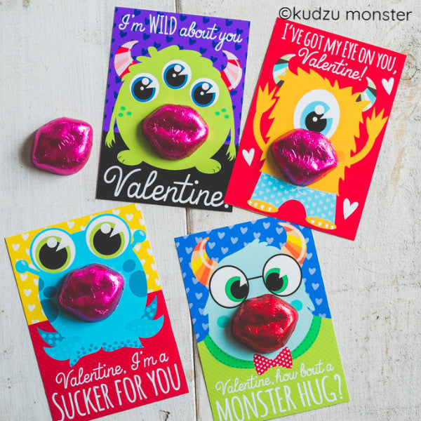 Monster Classroom Valentine Cards - Kudzu Monster