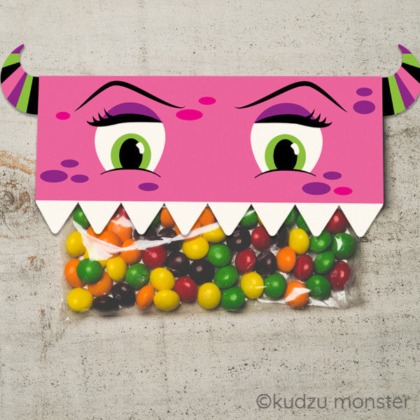 Valentine Pink Monster Treat Topper - Kudzu Monster