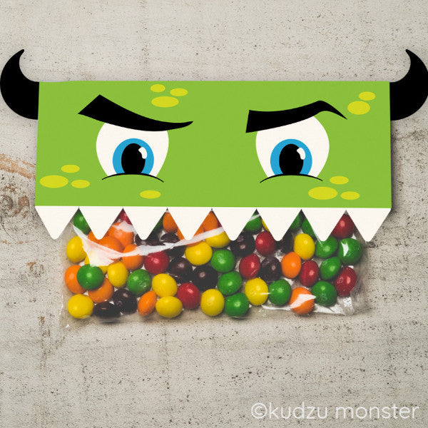 Valentine Green Monster Treat Topper - Kudzu Monster