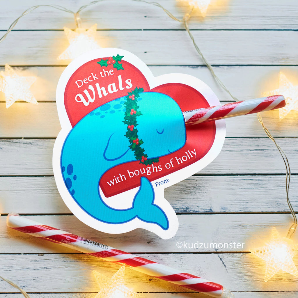 Narwhal Heart Candy Cane Holder