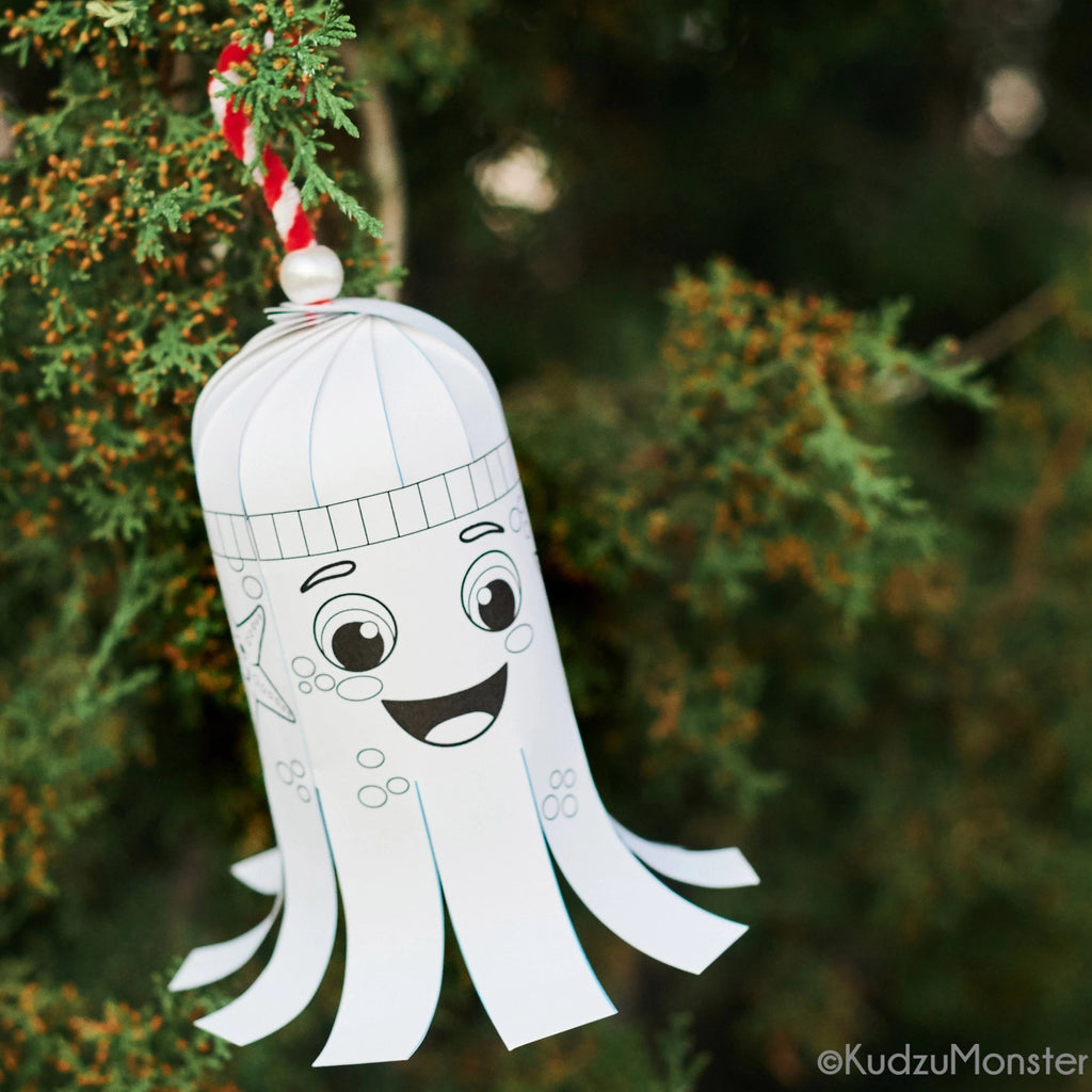 Squid Coloring Ornament