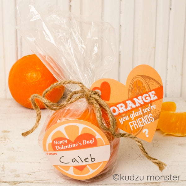 Orange Valentine with Gift Tag - Kudzu Monster
