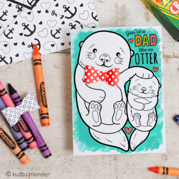 Otter Father's Day Coloring Greeting Card Activity