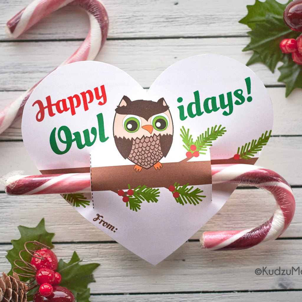 Owl Heart Candy Cane Holder