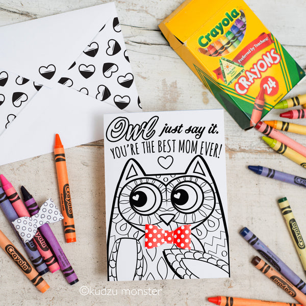 Coloring Activity Mother's Day Card:Owl
