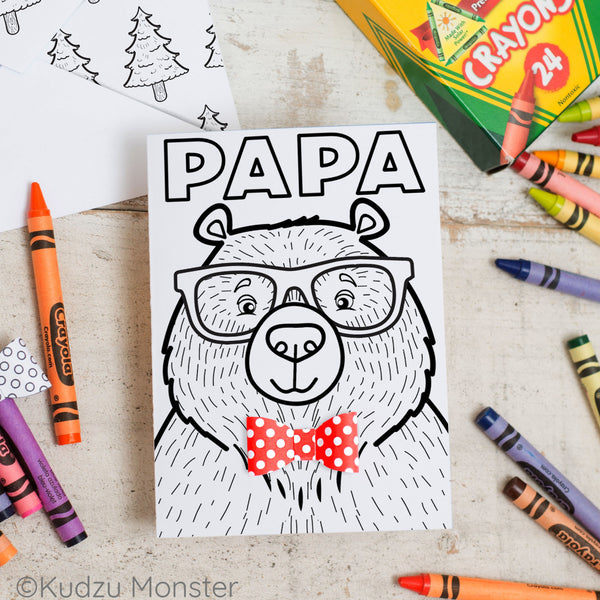 Papa Bear Father's Day Coloring Greeting Card Activity