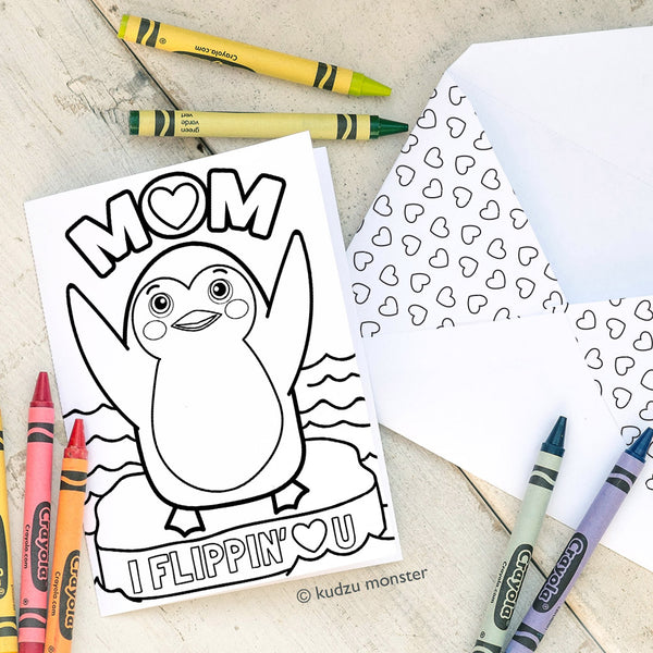 Coloring Activity Mother's Day Card: Penguin Flippin