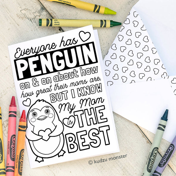 Coloring Activity Mother's Day Card: Penguin