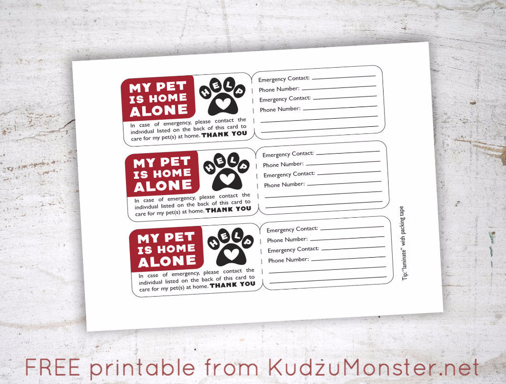 FREE Printable Pet Emergency Contact Card – Kudzu Monster