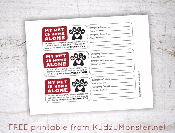 Free Printable Pet Emergency Contact Card Kudzu Monster