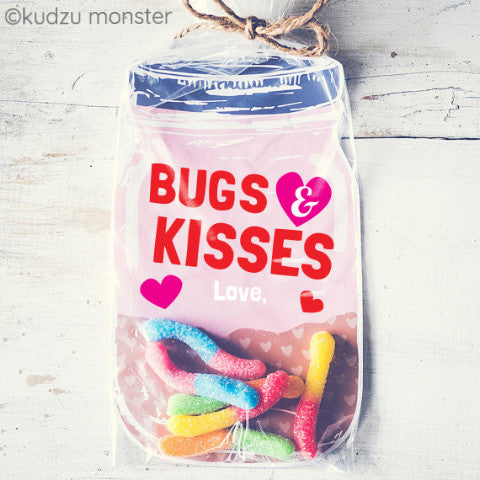 image about Bugs and Kisses Printable titled Purple Bug and Kisses Mason Jar Valentine