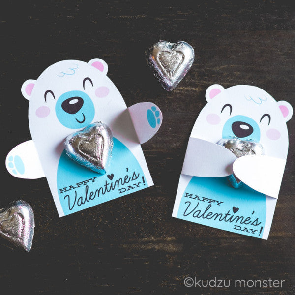 Valentine Polar Bear Candy Huggers - Kudzu Monster