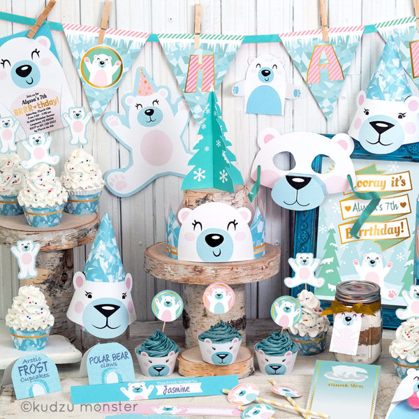 Printable POlar Bear Party Deluxe Kit - Kudzu Monster