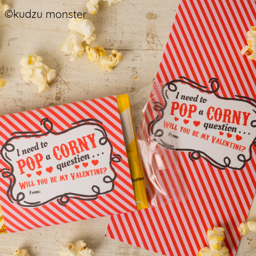 photograph about Popcorn Valentine Printable known as Popcorn Valentine