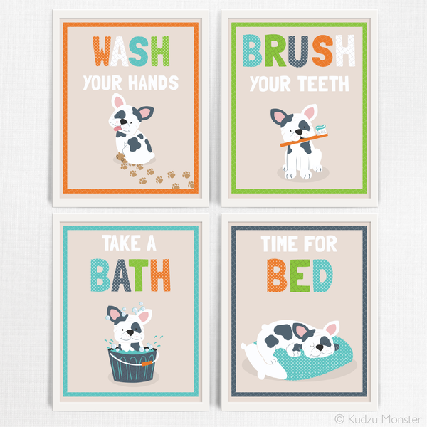 Printable Puppy Bathroom Art Set - Kudzu Monster