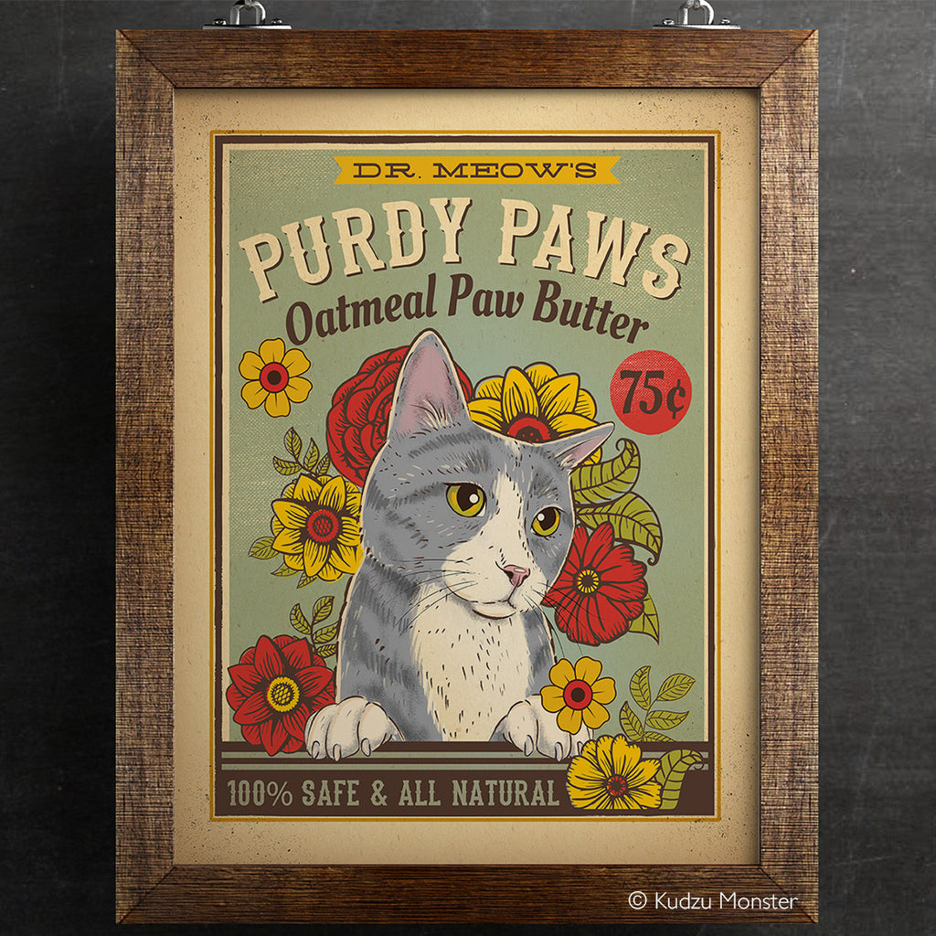 Purdy Paws Cat Vintage Style Art