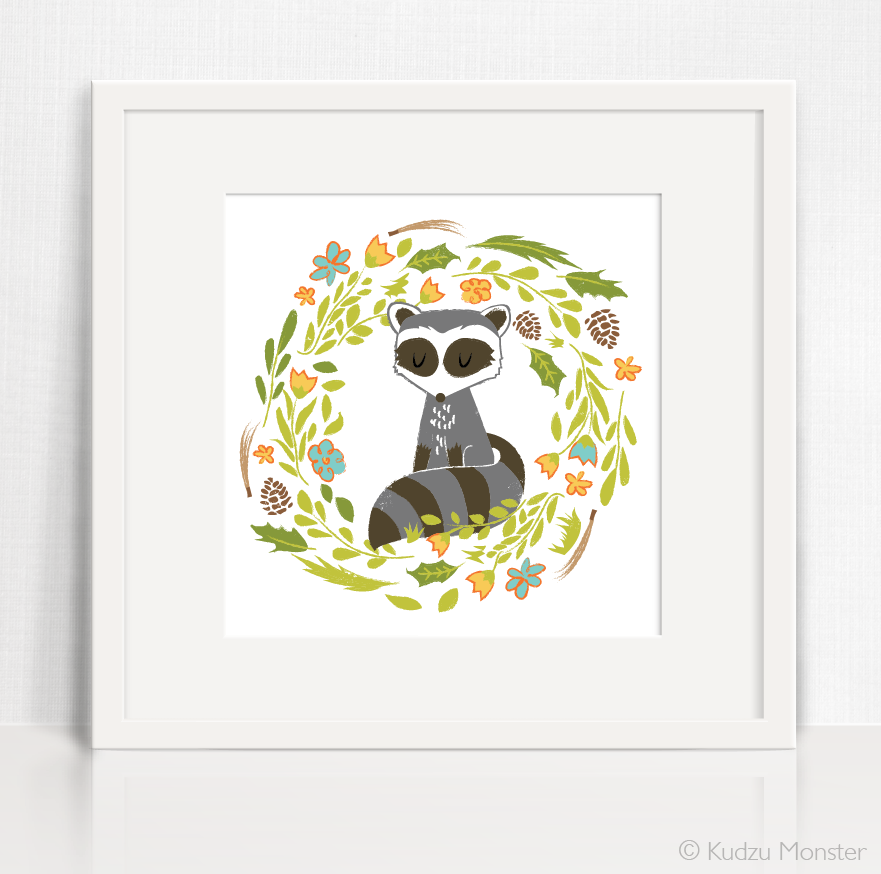 cute raccoon nursery art printable artwork woodland theme