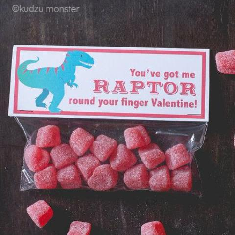 Printable raptor candy valentine topper