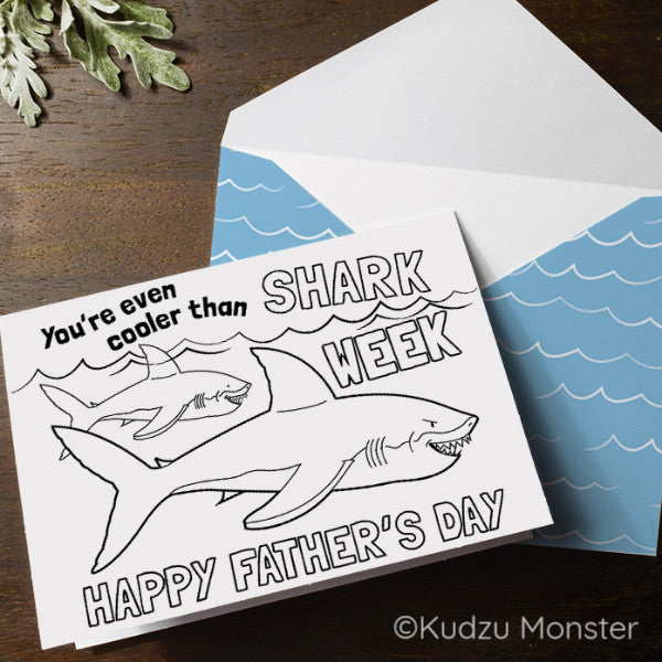 Shark Father's Day Coloring Greeting Card