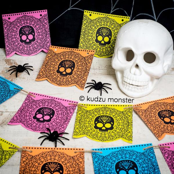 Sugar Skull Day of the Dead Banner Flags