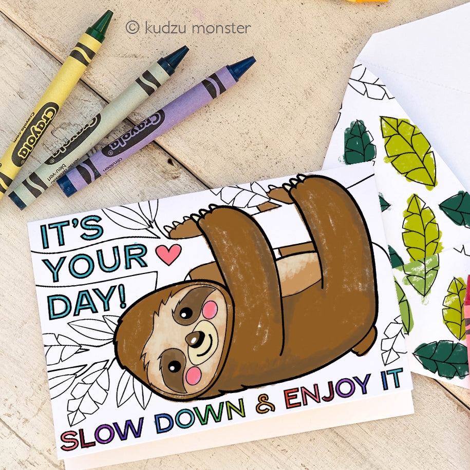 Sloth Coloring Activity Mother's Day Card