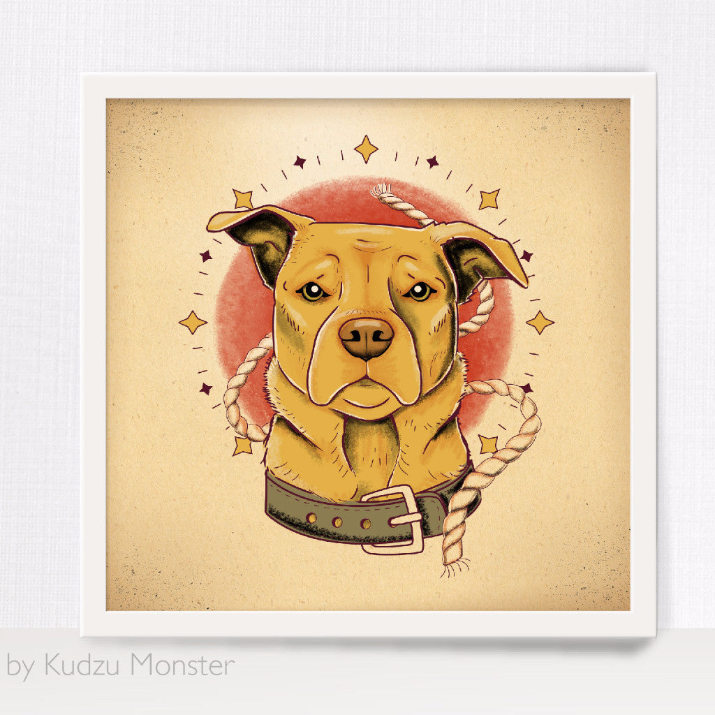 Custom Pet Portrait and art print - Kudzu Monster