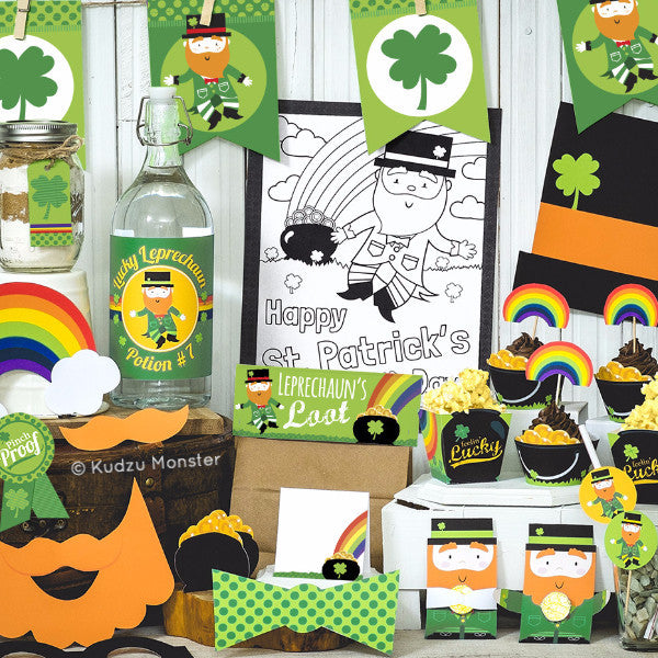Printable St. Patrick's Day Kid's Party Decor Kit - Kudzu Monster  - 1