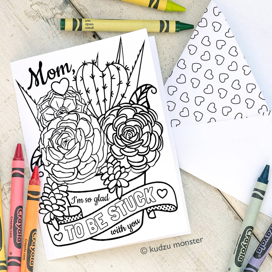 Coloring Activity Mother's Day Card: Succulents
