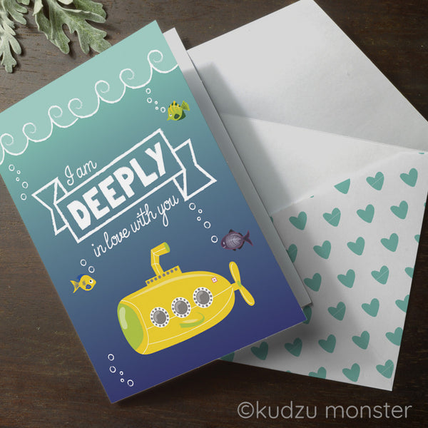 Submarine Valentine Card - Kudzu Monster