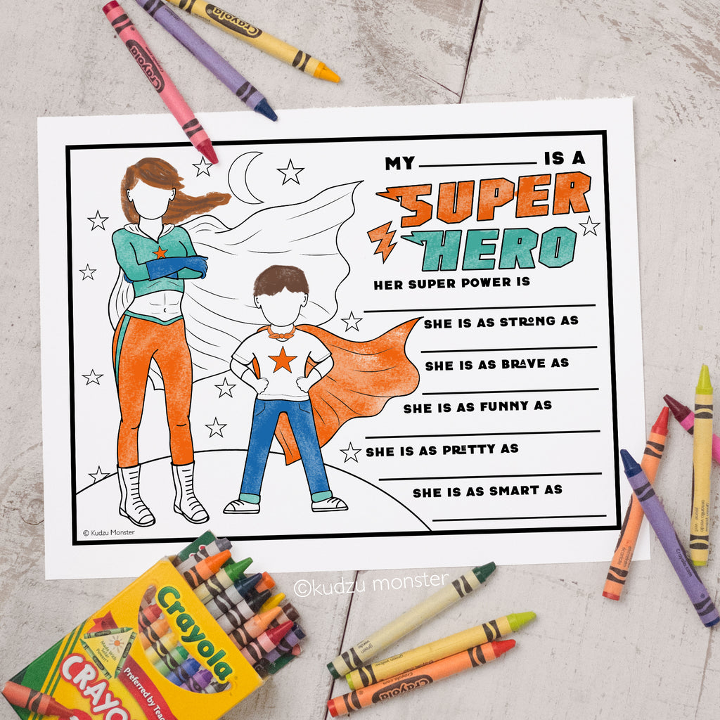 Super Mom Coloring Activity Sheet
