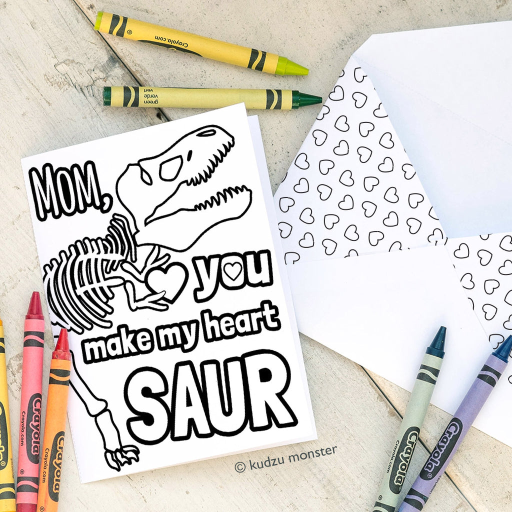 Coloring Activity Mother's Day Card: T Rex Fossil