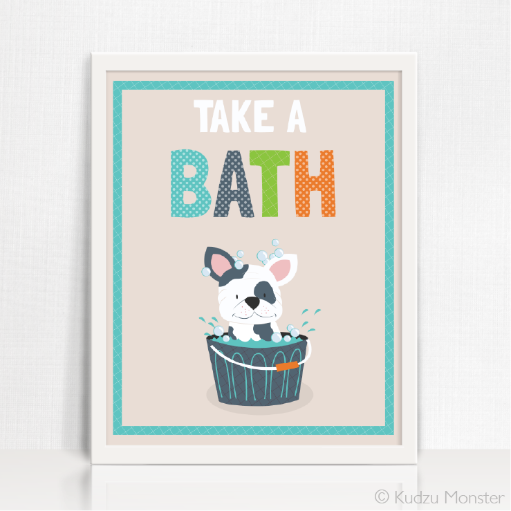 Printable Puppy Bath Time Art - Kudzu Monster