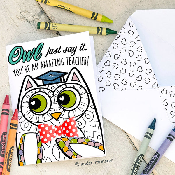 Coloring Activity Teacher Appreciation Card: Owl