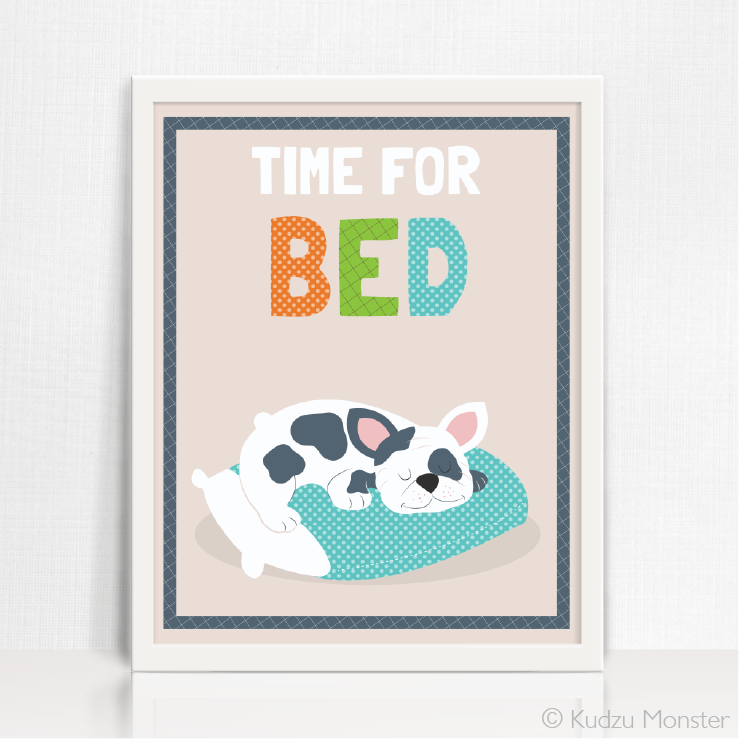 Printable Puppy Time for Bed Art - Kudzu Monster