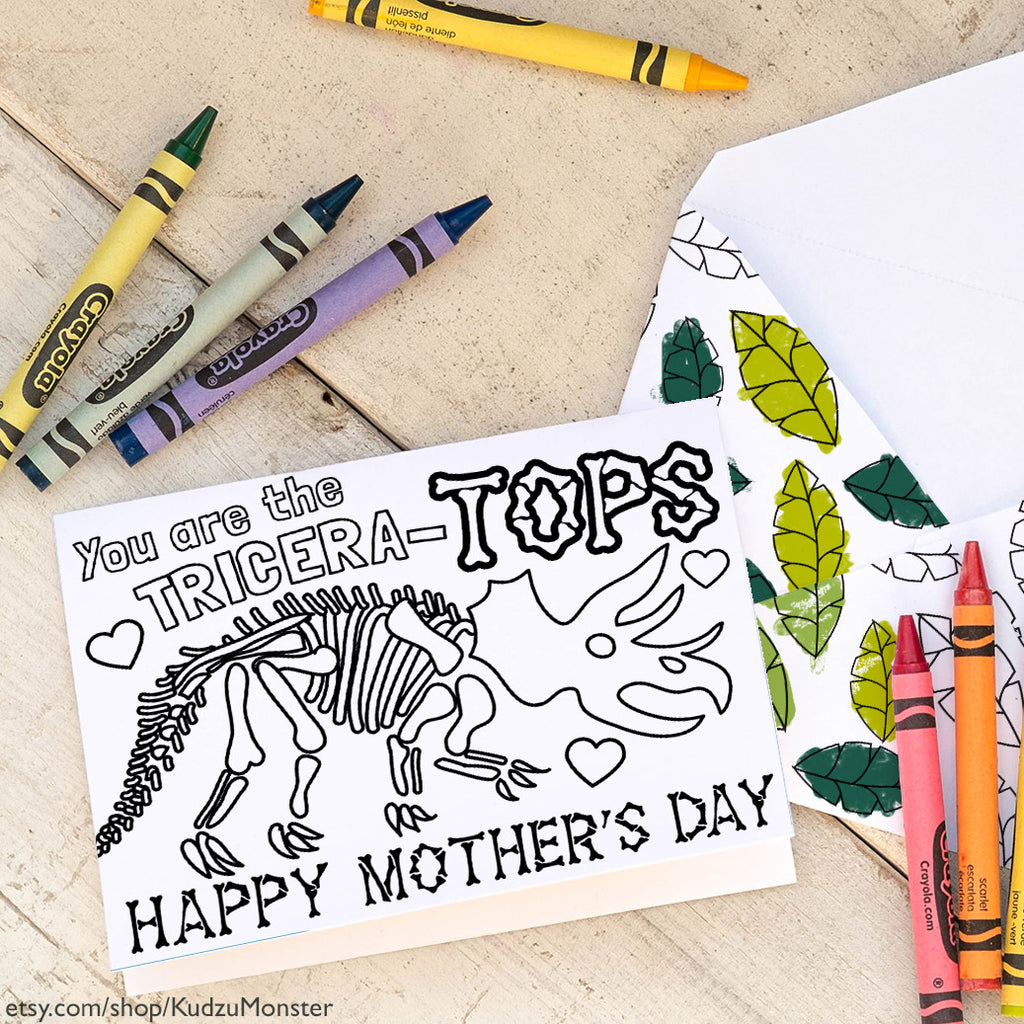 Coloring Activity Mother's Day Card: Triceratops